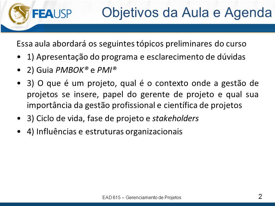 EAD 615 – Gerenciamento de Projetos 23 Estruturas Organizacionais Estrutura Organizacional Matricial Fraca