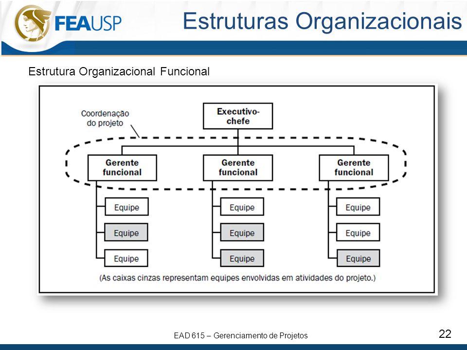 EAD 615 – Gerenciamento de Projetos 22 Estruturas Organizacionais Estrutura Organizacional Funcional