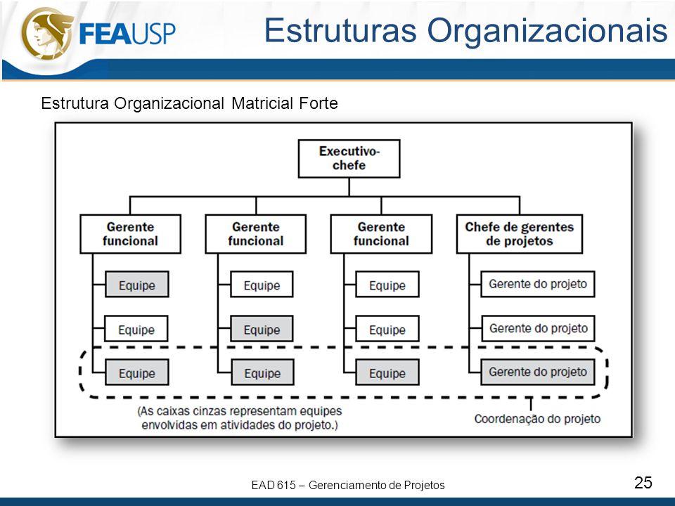 EAD 615 – Gerenciamento de Projetos 25 Estruturas Organizacionais Estrutura Organizacional Matricial Forte