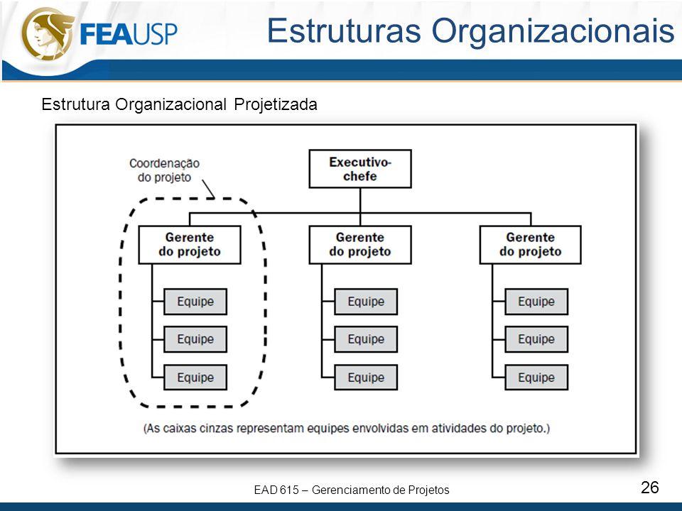 EAD 615 – Gerenciamento de Projetos 26 Estruturas Organizacionais Estrutura Organizacional Projetizada
