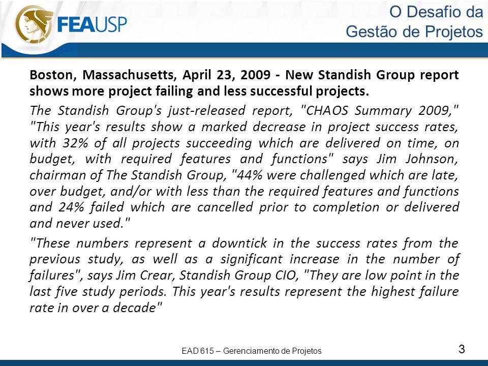 EAD 615 – Gerenciamento de Projetos 14 Papel do Gerente de Projetos O gerente de projetos é a pessoa designada pela organização executora para atingir os objetivos do projeto.