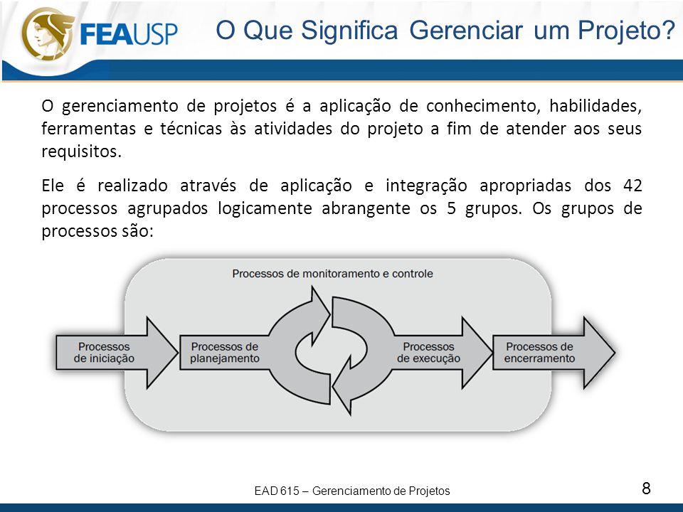 EAD 615 – Gerenciamento de Projetos 8 O Que Significa Gerenciar um Projeto? O gerenciamento de projetos é a aplicação de conhecimento, habilidades, fe
