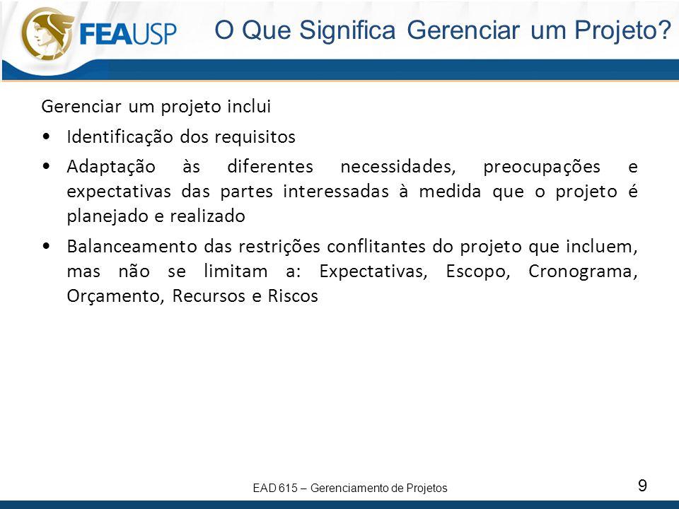 EAD 615 – Gerenciamento de Projetos 9 Gerenciar um projeto inclui Identificação dos requisitos Adaptação às diferentes necessidades, preocupações e ex