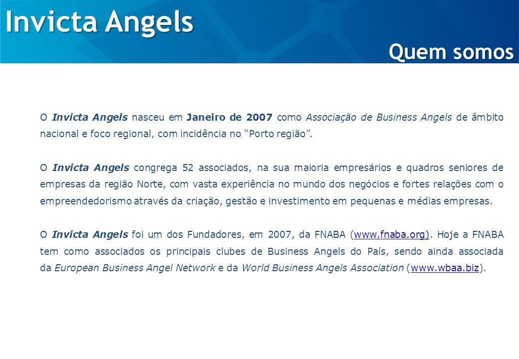 Invicta Angels Quem somos O Invicta Angels nasceu em Janeiro de 2007 como Associação de Business Angels de âmbito nacional e foco regional, com incidência no Porto região .