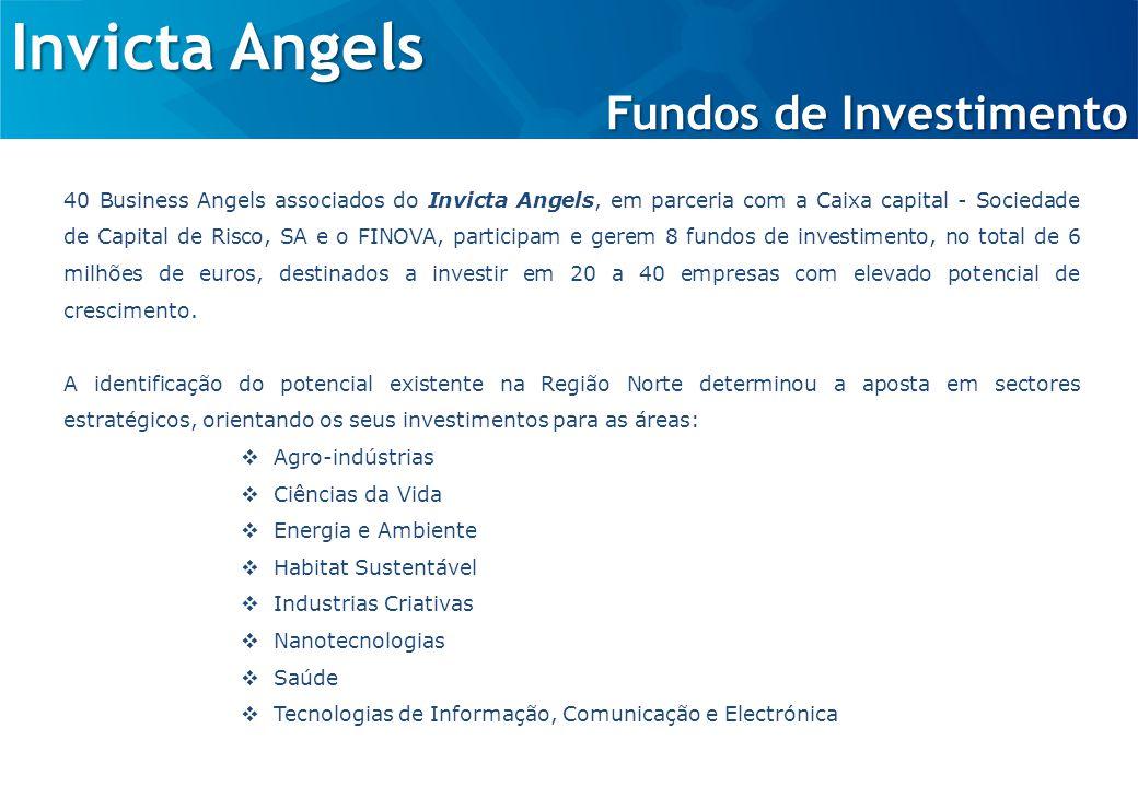 Invicta Angels Fundos de Investimento 40 Business Angels associados do Invicta Angels, em parceria com a Caixa capital - Sociedade de Capital de Risco, SA e o FINOVA, participam e gerem 8 fundos de investimento, no total de 6 milhões de euros, destinados a investir em 20 a 40 empresas com elevado potencial de crescimento.