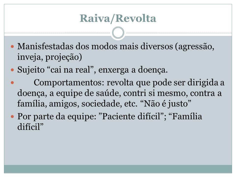 """Raiva/Revolta Manisfestadas dos modos mais diversos (agressão, inveja, projeção) Sujeito """"cai na real"""", enxerga a doença. Comportamentos: revolta que"""