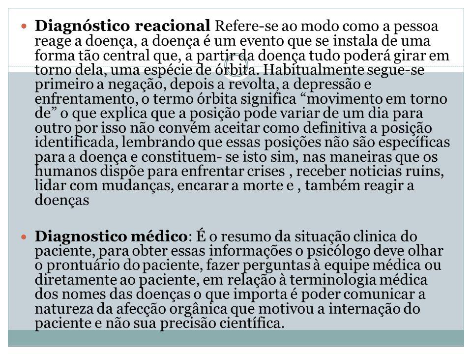 Diagnóstico reacional Refere-se ao modo como a pessoa reage a doença, a doença é um evento que se instala de uma forma tão central que, a partir da do