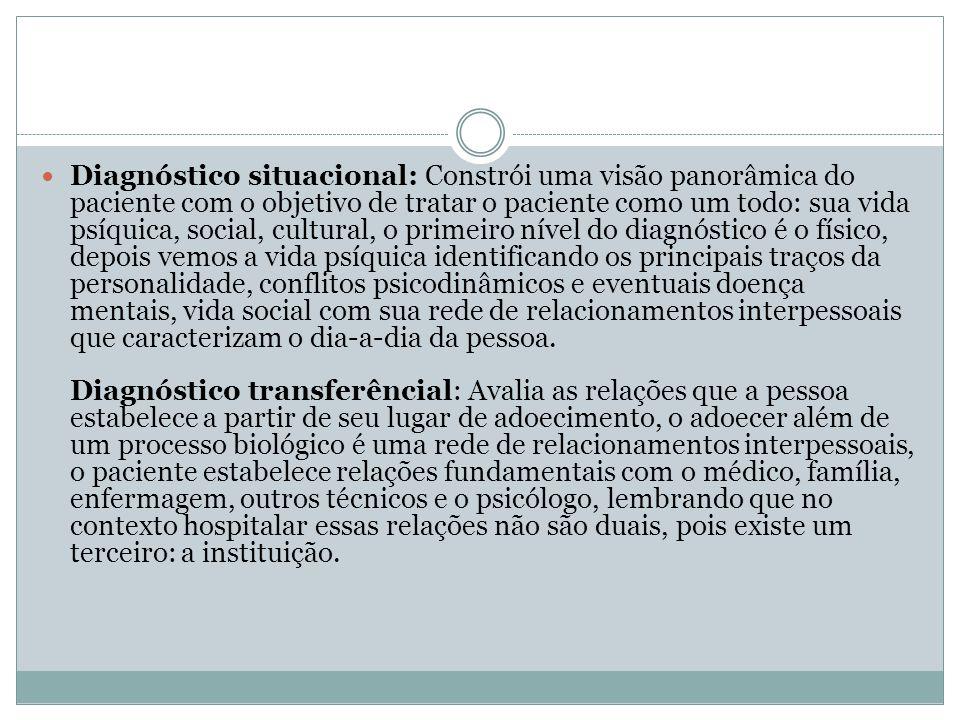 Diagnóstico situacional: Constrói uma visão panorâmica do paciente com o objetivo de tratar o paciente como um todo: sua vida psíquica, social, cultur