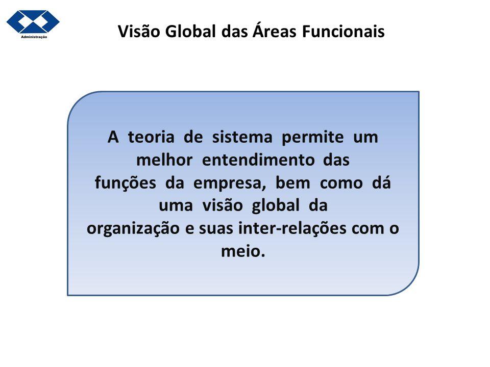 Visão Global das Áreas Funcionais A teoria de sistema permite um melhor entendimento das funções da empresa, bem como dá uma visão global da organizaç