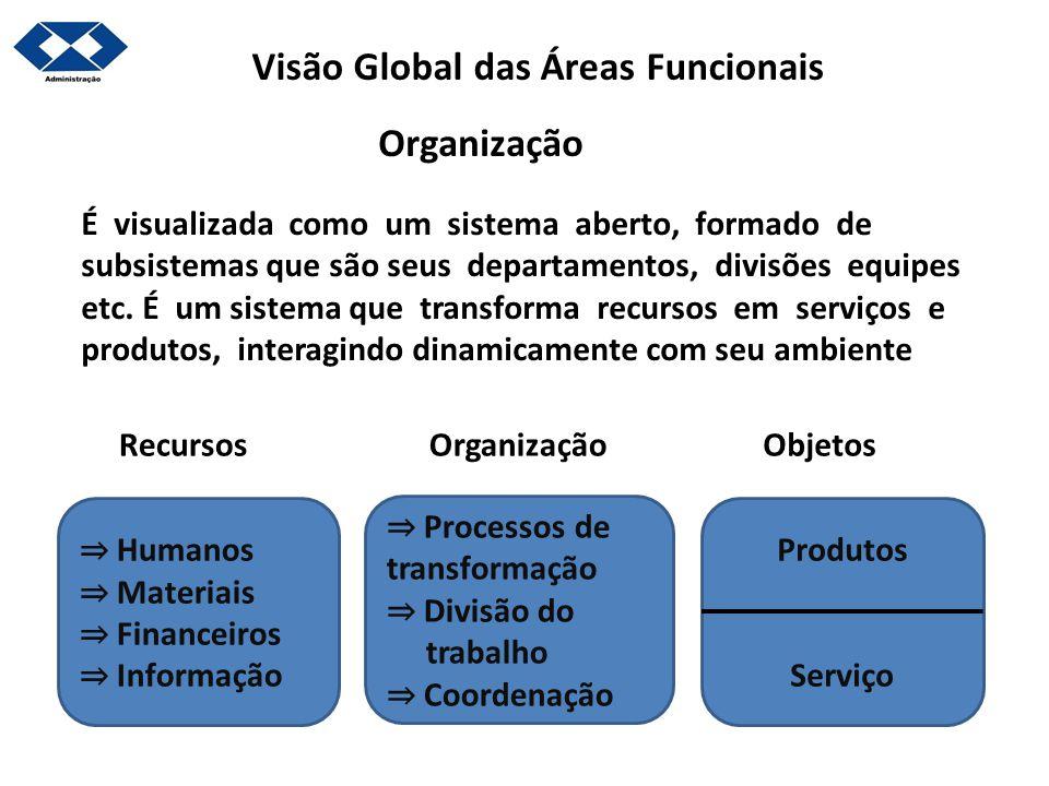 Visão Global das Áreas Funcionais É visualizada como um sistema aberto, formado de subsistemas que são seus departamentos, divisões equipes etc. É um