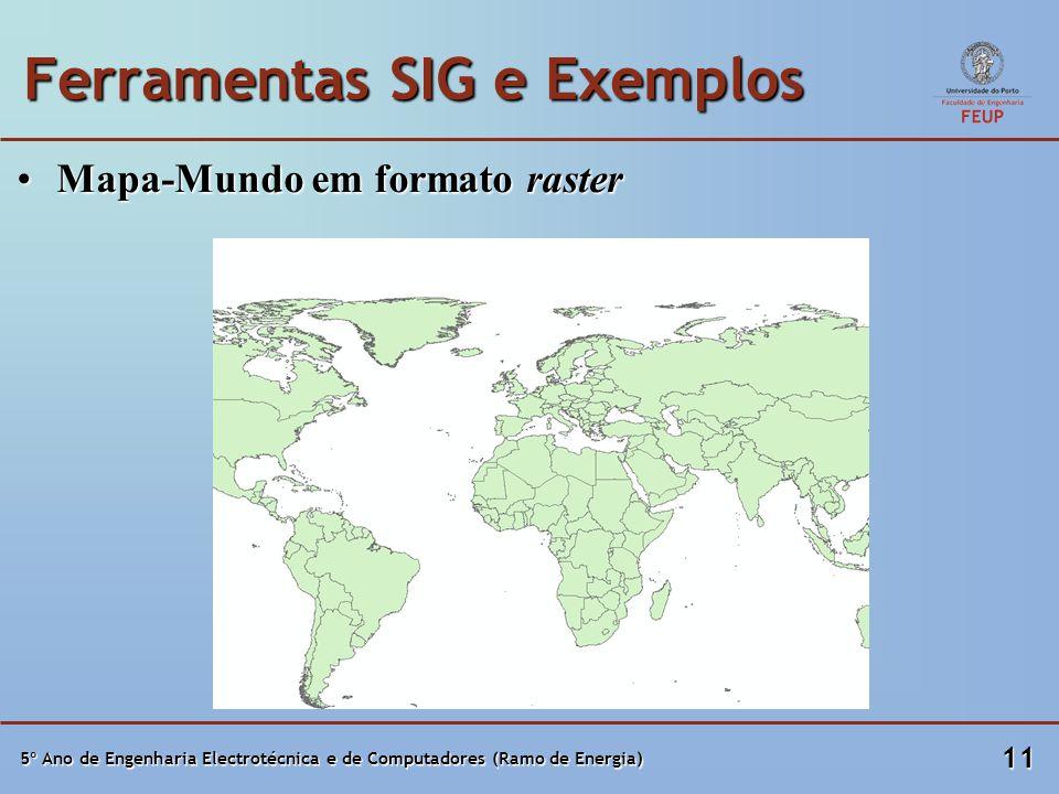 5º Ano de Engenharia Electrotécnica e de Computadores (Ramo de Energia) 11 Ferramentas SIG e Exemplos Mapa-Mundo em formato rasterMapa-Mundo em formato raster