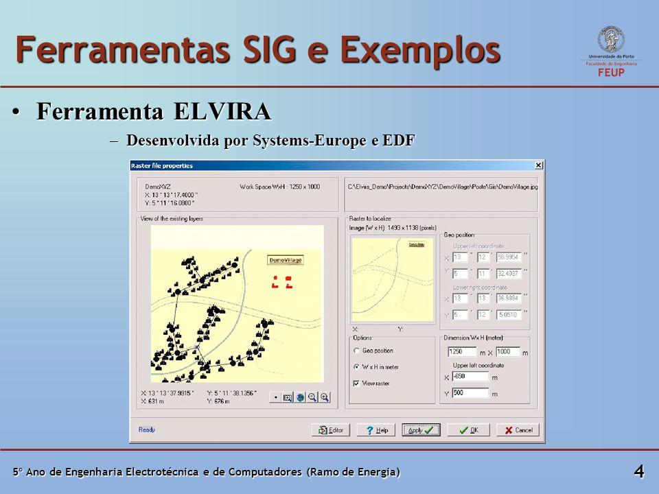 5º Ano de Engenharia Electrotécnica e de Computadores (Ramo de Energia) 4 Ferramentas SIG e Exemplos Ferramenta ELVIRAFerramenta ELVIRA –Desenvolvida por Systems-Europe e EDF