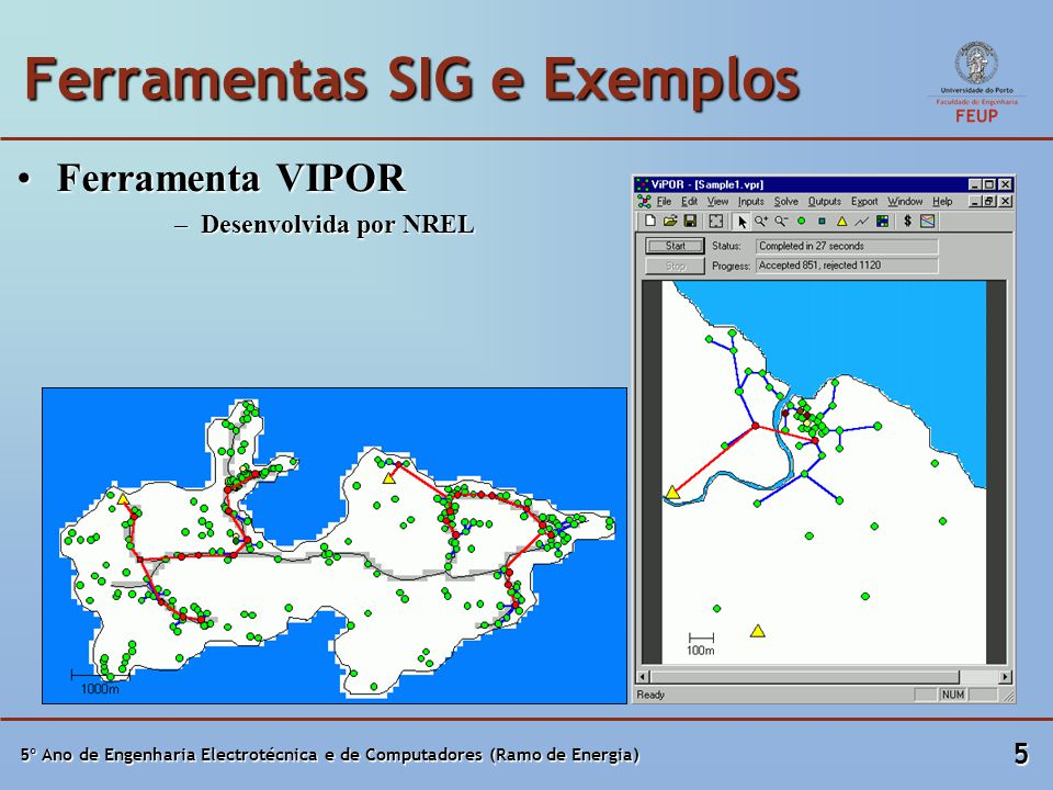 5º Ano de Engenharia Electrotécnica e de Computadores (Ramo de Energia) 5 Ferramentas SIG e Exemplos Ferramenta VIPORFerramenta VIPOR –Desenvolvida por NREL