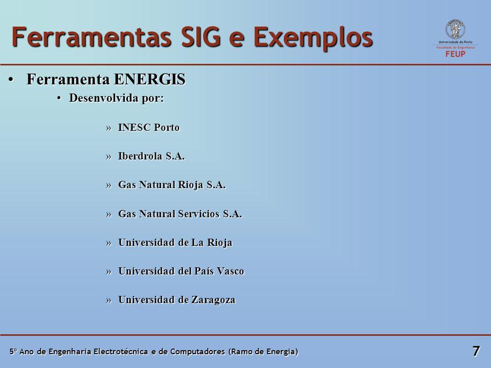 5º Ano de Engenharia Electrotécnica e de Computadores (Ramo de Energia) 7 Ferramentas SIG e Exemplos Ferramenta ENERGISFerramenta ENERGIS Desenvolvida por:Desenvolvida por: »INESC Porto »Iberdrola S.A.