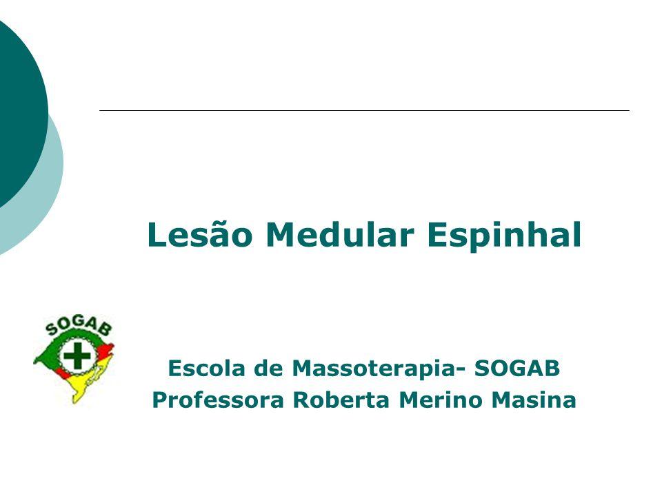 Lesão Medular Espinhal Escola de Massoterapia- SOGAB Professora Roberta Merino Masina