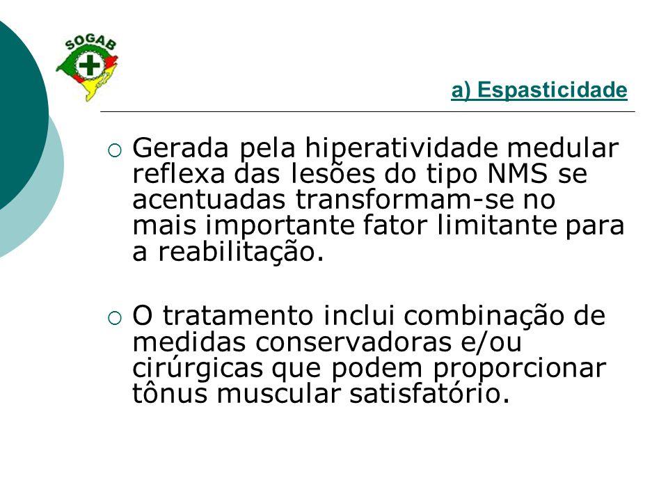a) Espasticidade  Gerada pela hiperatividade medular reflexa das lesões do tipo NMS se acentuadas transformam-se no mais importante fator limitante p