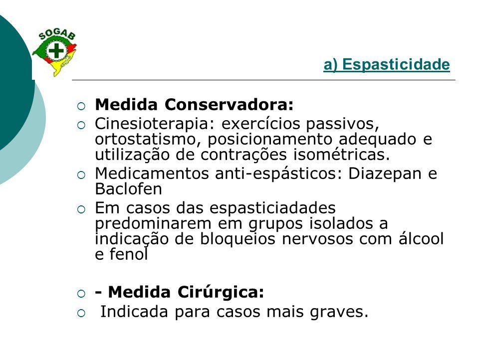 a) Espasticidade  Medida Conservadora:  Cinesioterapia: exercícios passivos, ortostatismo, posicionamento adequado e utilização de contrações isomét