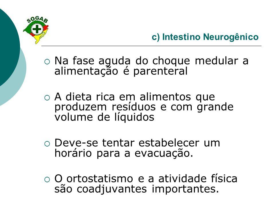 c) Intestino Neurogênico  Na fase aguda do choque medular a alimentação é parenteral  A dieta rica em alimentos que produzem resíduos e com grande v