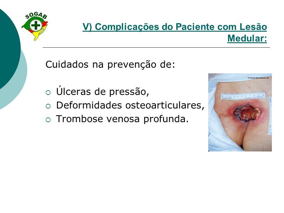 V) Complicações do Paciente com Lesão Medular: Cuidados na prevenção de:  Úlceras de pressão,  Deformidades osteoarticulares,  Trombose venosa prof