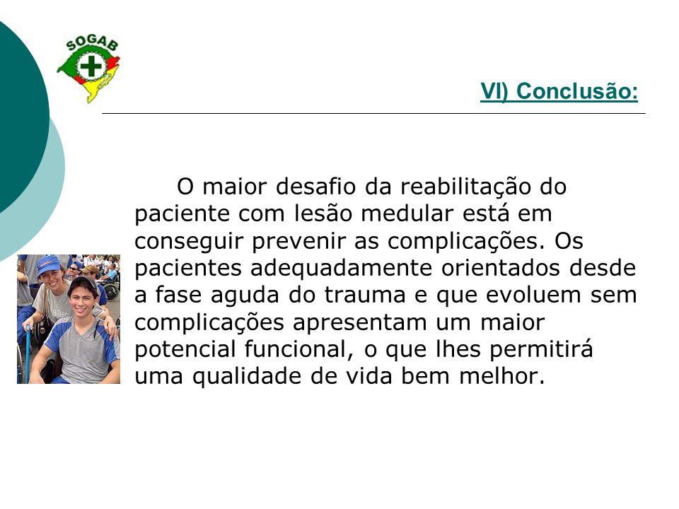 VI) Conclusão: O maior desafio da reabilitação do paciente com lesão medular está em conseguir prevenir as complicações. Os pacientes adequadamente or