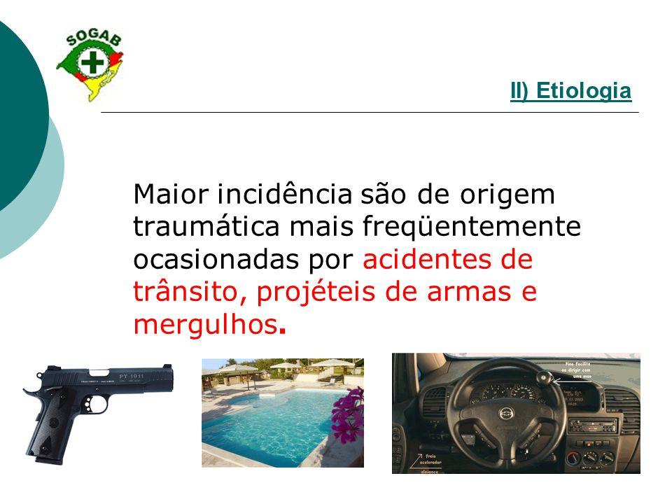 II) Etiologia Maior incidência são de origem traumática mais freqüentemente ocasionadas por acidentes de trânsito, projéteis de armas e mergulhos.
