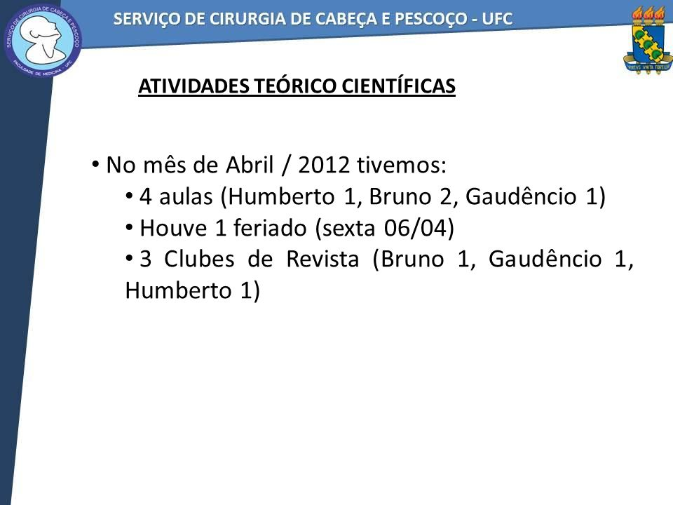No mês de Abril / 2012 tivemos: 4 aulas (Humberto 1, Bruno 2, Gaudêncio 1) Houve 1 feriado (sexta 06/04) 3 Clubes de Revista (Bruno 1, Gaudêncio 1, Hu