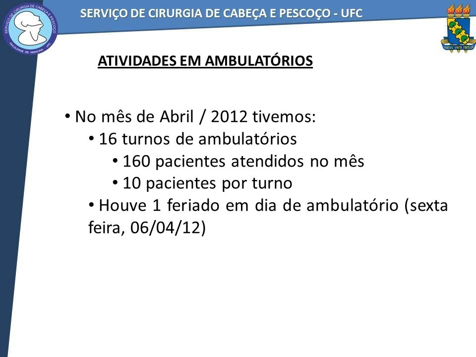 No mês de Abril / 2012 tivemos: 16 turnos de ambulatórios 160 pacientes atendidos no mês 10 pacientes por turno Houve 1 feriado em dia de ambulatório (sexta feira, 06/04/12) ATIVIDADES EM AMBULATÓRIOS