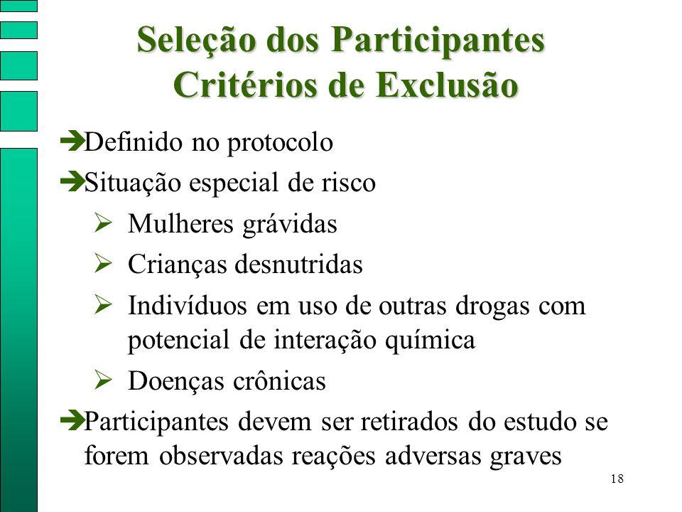 18 Seleção dos Participantes Critérios de Exclusão  Definido no protocolo  Situação especial de risco  Mulheres grávidas  Crianças desnutridas  I