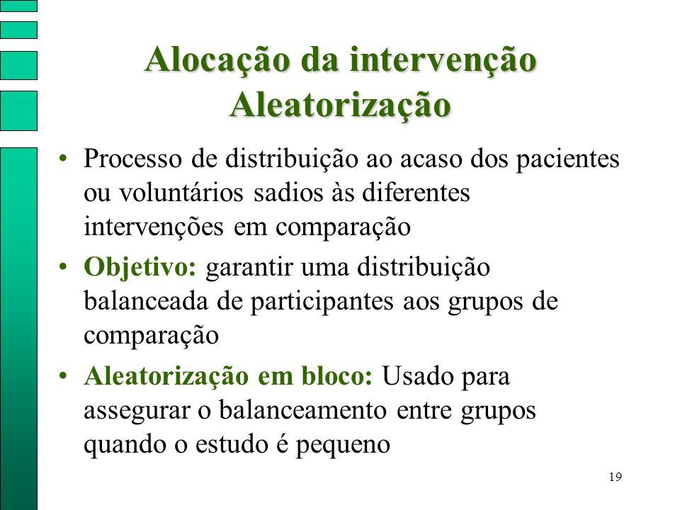19 Alocação da intervenção Aleatorização Processo de distribuição ao acaso dos pacientes ou voluntários sadios às diferentes intervenções em comparaçã