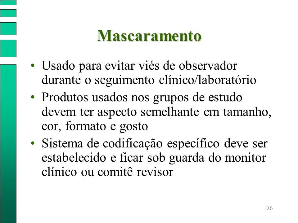 20 Mascaramento Usado para evitar viés de observador durante o seguimento clínico/laboratório Produtos usados nos grupos de estudo devem ter aspecto s