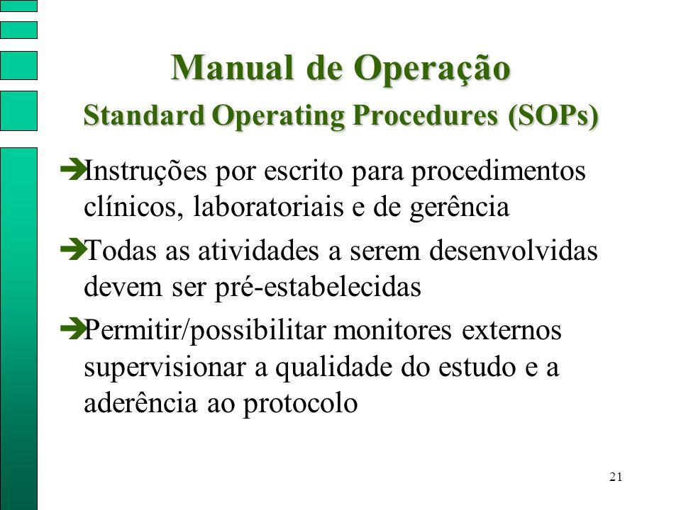 21 Manual de Operação Standard Operating Procedures (SOPs)  Instruções por escrito para procedimentos clínicos, laboratoriais e de gerência  Todas a