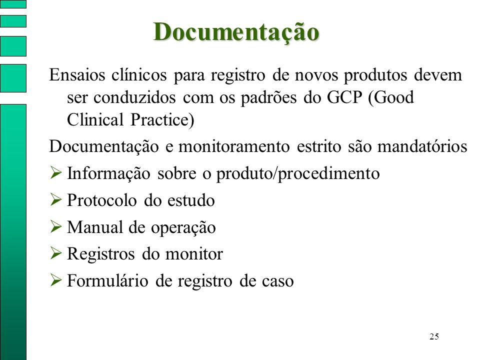 25Documentação Ensaios clínicos para registro de novos produtos devem ser conduzidos com os padrões do GCP (Good Clinical Practice) Documentação e mon
