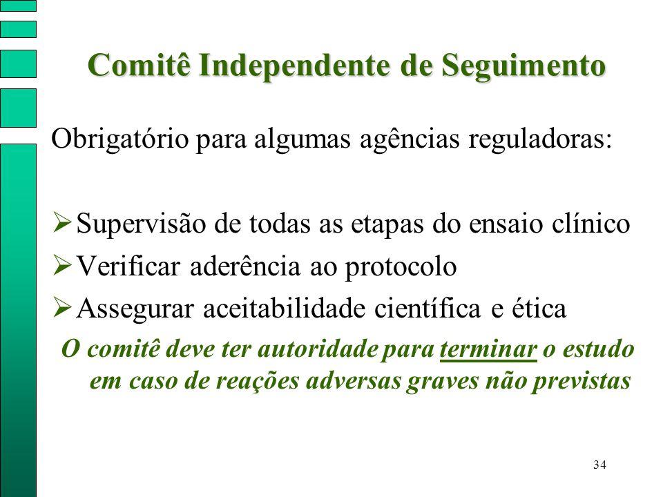 34 Comitê Independente de Seguimento Comitê Independente de Seguimento Obrigatório para algumas agências reguladoras:  Supervisão de todas as etapas