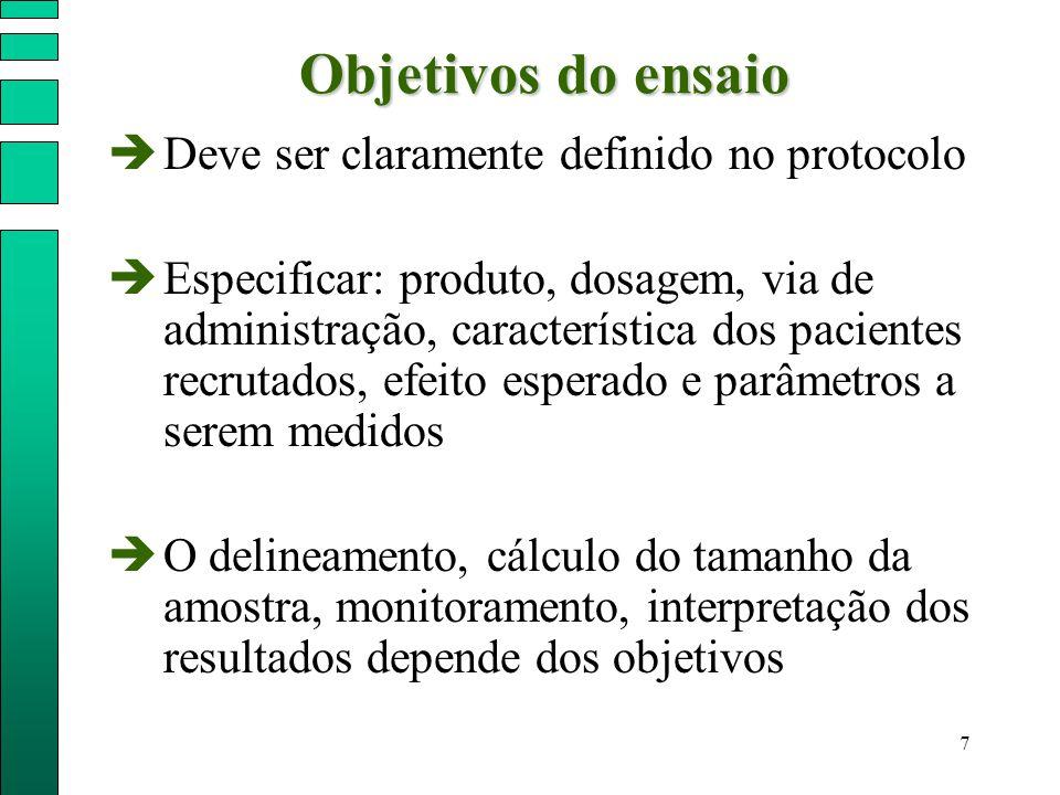 7  Deve ser claramente definido no protocolo  Especificar: produto, dosagem, via de administração, característica dos pacientes recrutados, efeito e