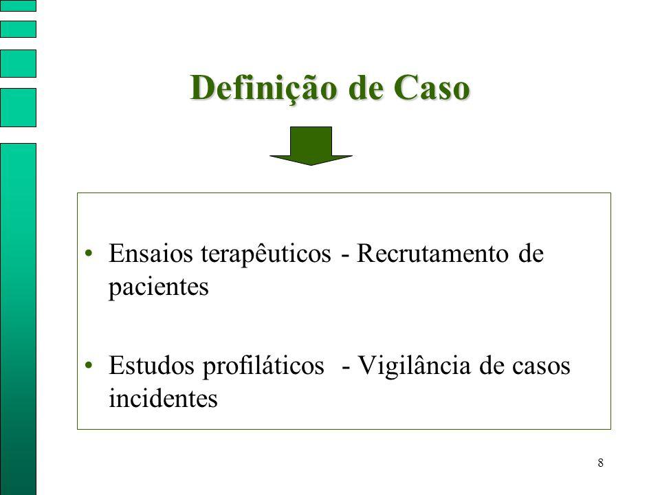 8 Definição de Caso Ensaios terapêuticos - Recrutamento de pacientes Estudos profiláticos - Vigilância de casos incidentes
