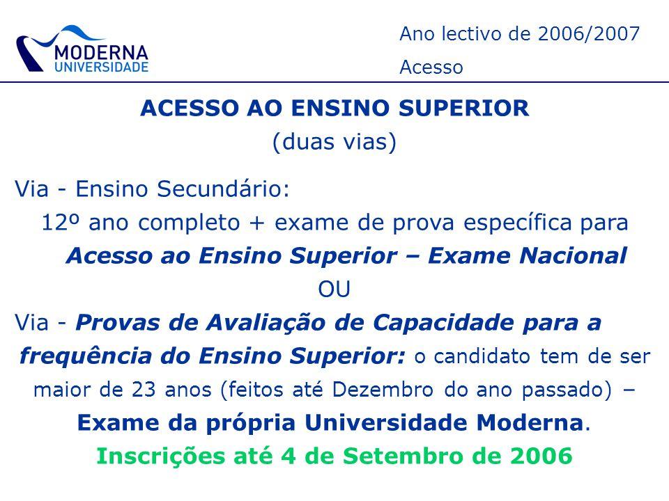 Ano lectivo de 2006/2007 Licenciaturas – Universidade Moderna As nossas Licenciaturas : ArquitecturaArquitectura (Lisboa) ArquitecturaArquitectura (Setúbal) – Conforme Processo de BOLONHA Mestrado Integrado: Licenciatura (3 anos) + 2 anos.