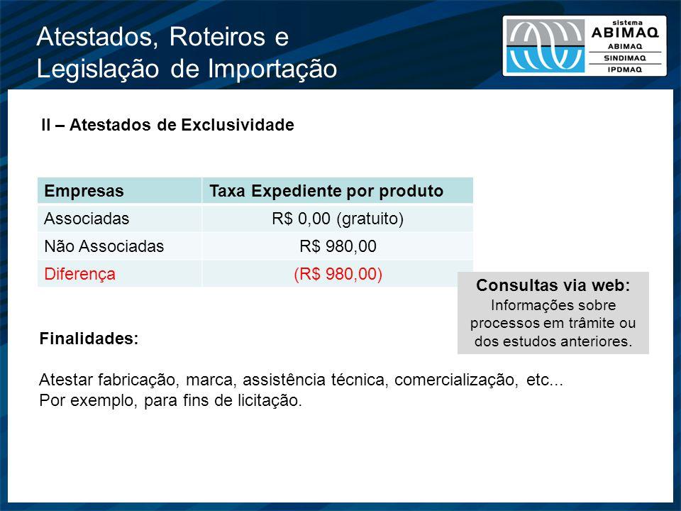 Atestados, Roteiros e Legislação de Importação II – Atestados de Exclusividade EmpresasTaxa Expediente por produto AssociadasR$ 0,00 (gratuito) Não As