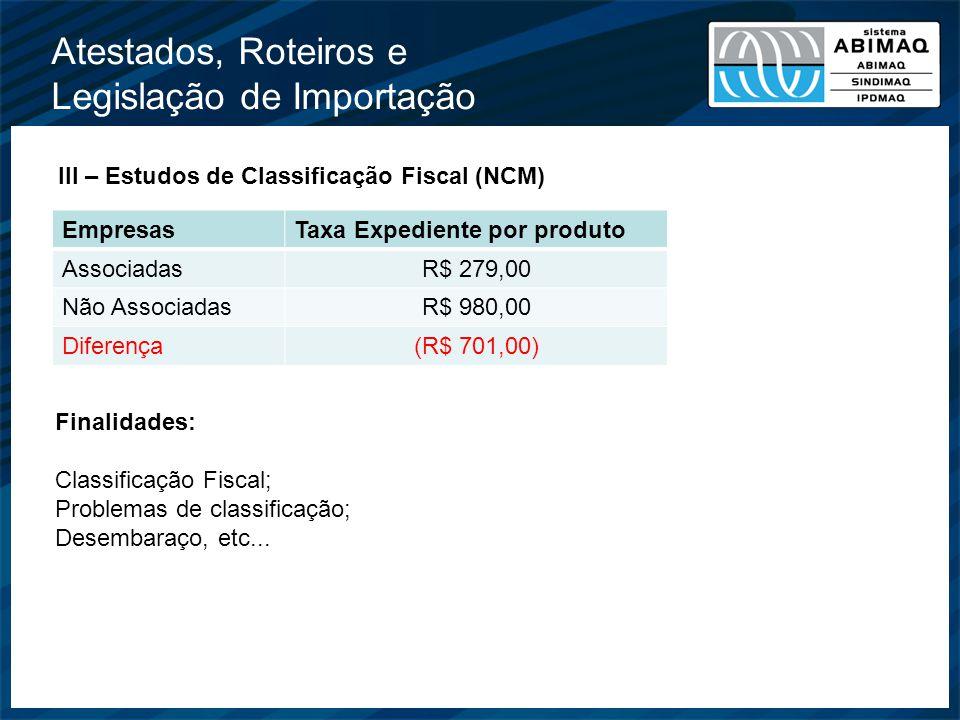 Atestados, Roteiros e Legislação de Importação III – Estudos de Classificação Fiscal (NCM) EmpresasTaxa Expediente por produto AssociadasR$ 279,00 Não