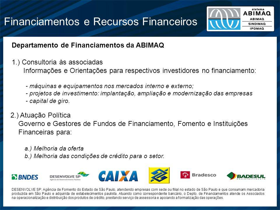 Financiamentos e Recursos Financeiros Departamento de Financiamentos da ABIMAQ 1.) Consultoria às associadas Informações e Orientações para respectivo