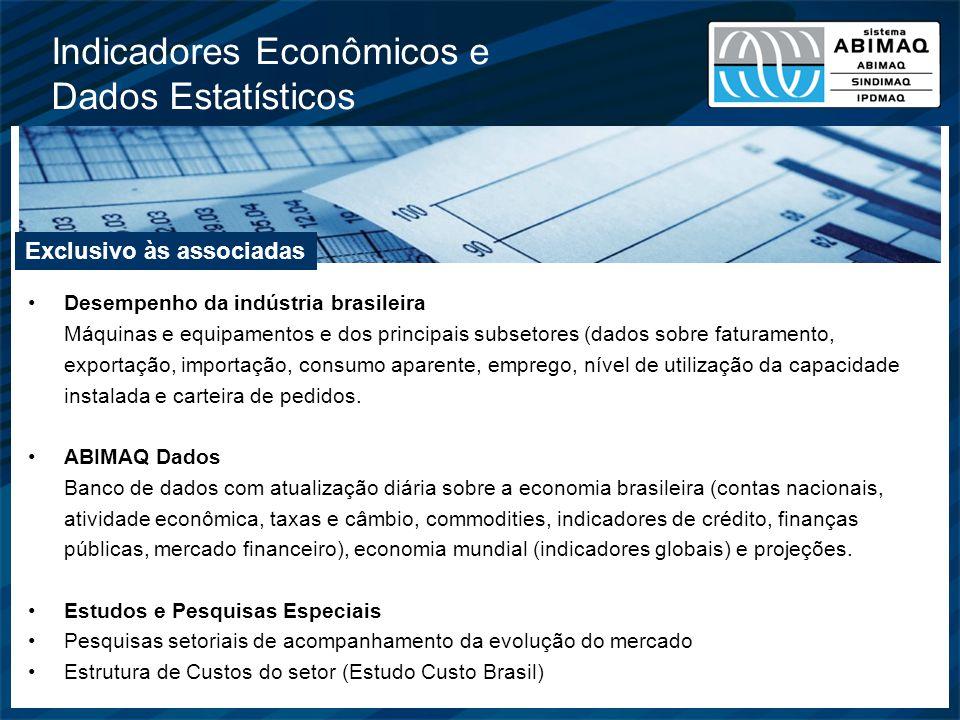 Indicadores Econômicos e Dados Estatísticos Desempenho da indústria brasileira Máquinas e equipamentos e dos principais subsetores (dados sobre fatura