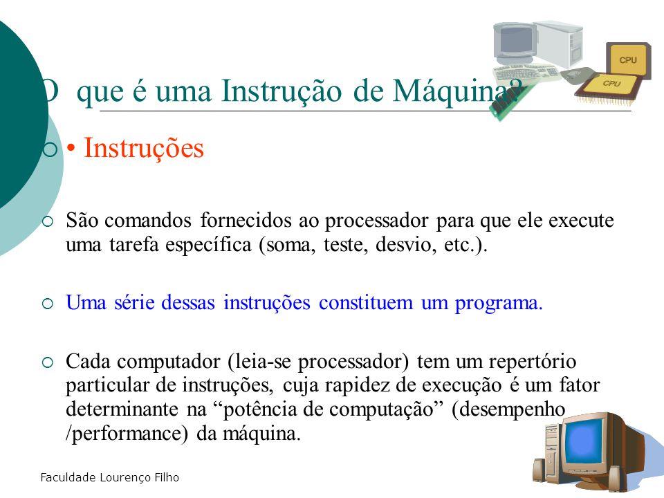 Faculdade Lourenço Filho O que é uma Instrução de Máquina?  Instruções  São comandos fornecidos ao processador para que ele execute uma tarefa espec