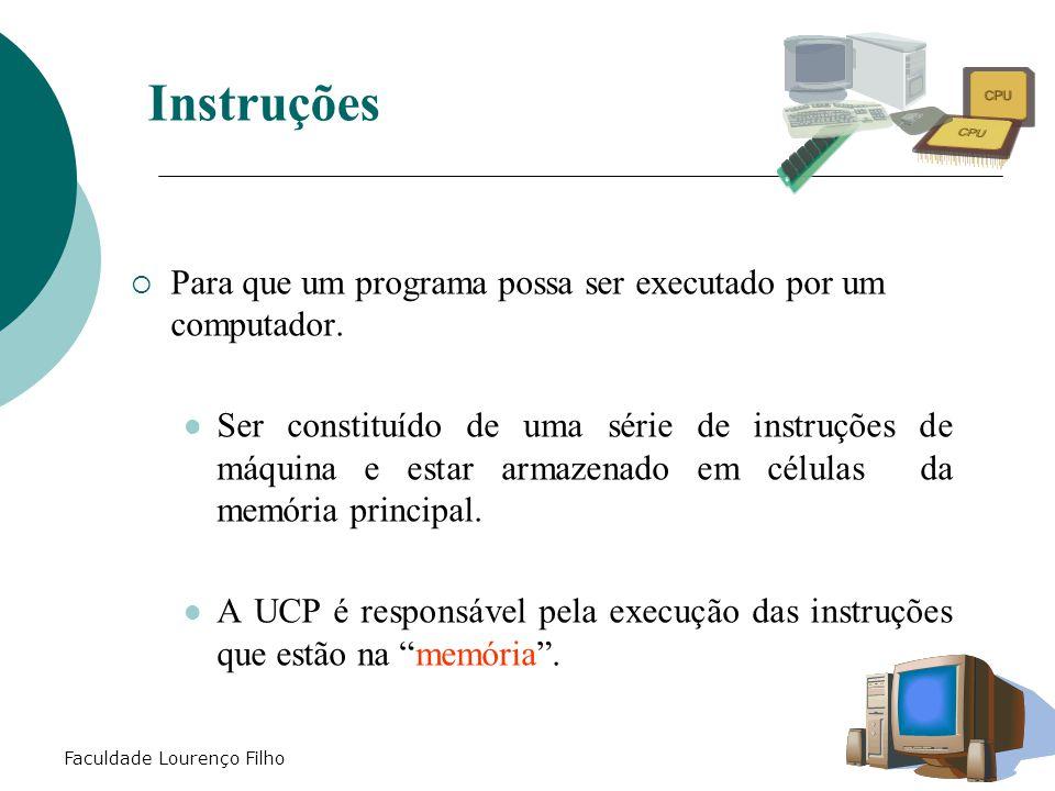 Faculdade Lourenço Filho Instruções  Para que um programa possa ser executado por um computador. Ser constituído de uma série de instruções de máquin