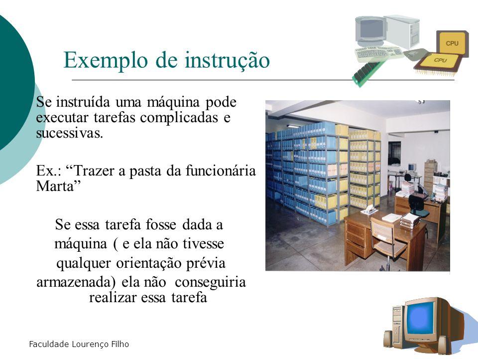 """Faculdade Lourenço Filho Exemplo de instrução  Se instruída uma máquina pode executar tarefas complicadas e sucessivas. Ex.: """"Trazer a pasta da funci"""