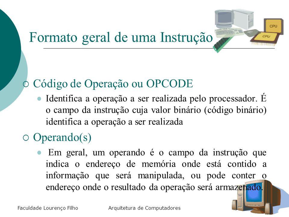 Faculdade Lourenço FilhoArquitetura de Computadores Formato geral de uma Instrução  Código de Operação ou OPCODE Identifica a operação a ser realizada pelo processador.