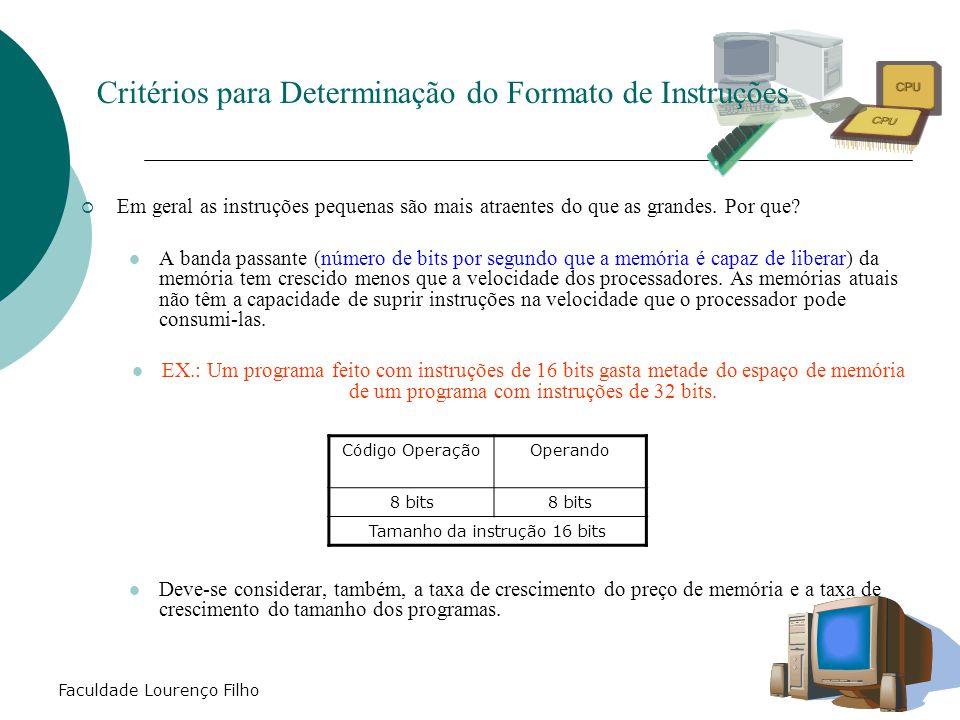 Faculdade Lourenço Filho Critérios para Determinação do Formato de Instruções  Em geral as instruções pequenas são mais atraentes do que as grandes.