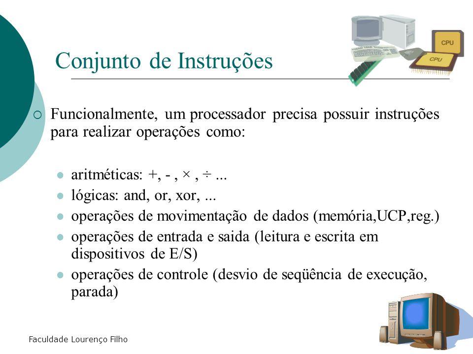 Faculdade Lourenço Filho  Funcionalmente, um processador precisa possuir instruções para realizar operações como: aritméticas: +, -, ×, ÷... lógicas:
