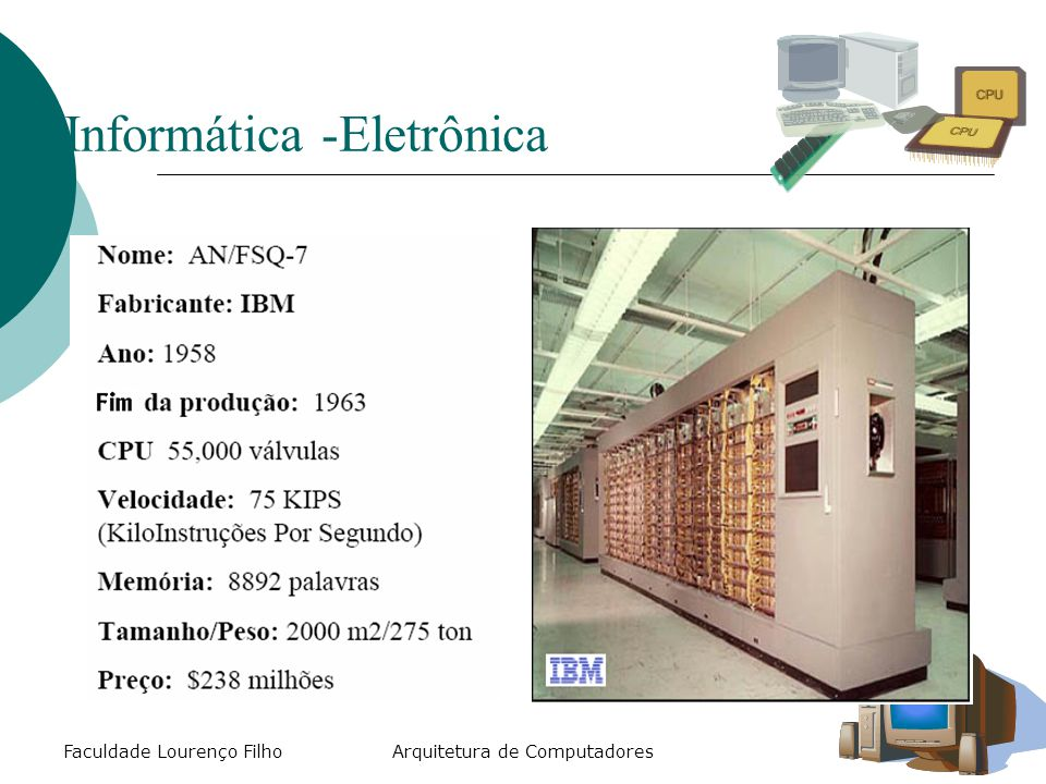 Faculdade Lourenço Filho Conjunto de Instruções  Quando se projeta um hardware:  Define-se o seu conjunto instruções elementares que o hardware é capaz de executar.