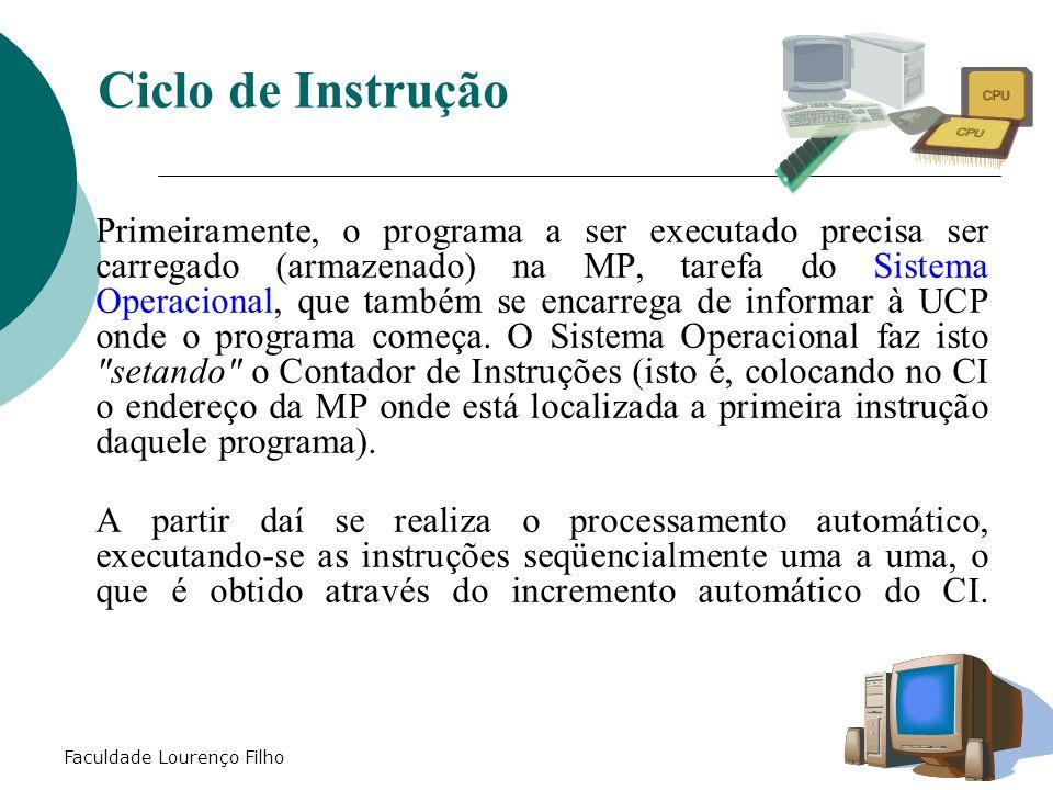 Faculdade Lourenço Filho Primeiramente, o programa a ser executado precisa ser carregado (armazenado) na MP, tarefa do Sistema Operacional, que também se encarrega de informar à UCP onde o programa começa.