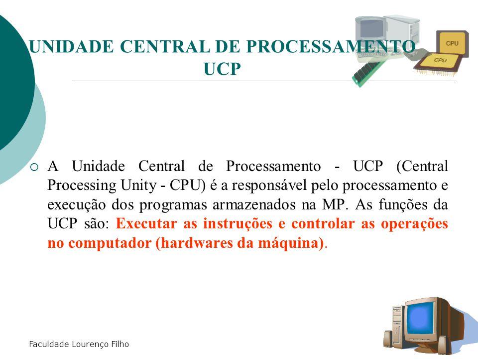 Faculdade Lourenço Filho  A Unidade Central de Processamento - UCP (Central Processing Unity - CPU) é a responsável pelo processamento e execução dos programas armazenados na MP.
