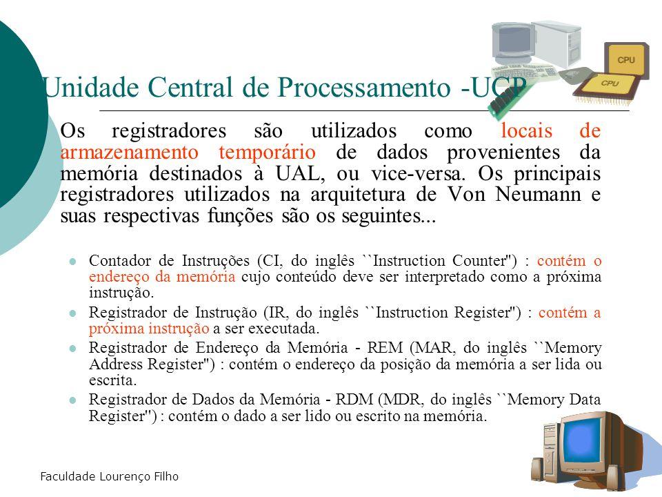Faculdade Lourenço Filho  A UCP é composta de duas partes: ULA – Unidade Lógica e Aritmética - tem por função a efetiva execução das instruções de operações matemáticas: Soma; Subtração, Multiplicação,divisão, operações lógicas OR,AND,NOT,XOR e etc.